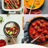 Assortment of recipe photos for our roundup of Freezer Friendly Plant-Based Dinner Recipes