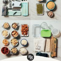 Assortment of pantry items and kitchen tools for our guide to How to Stock Your Pantry