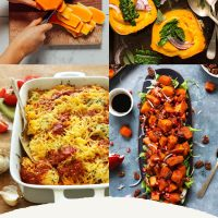 Assortment of recipe photos for our roundup of Plant-Based Winter Squash Recipes