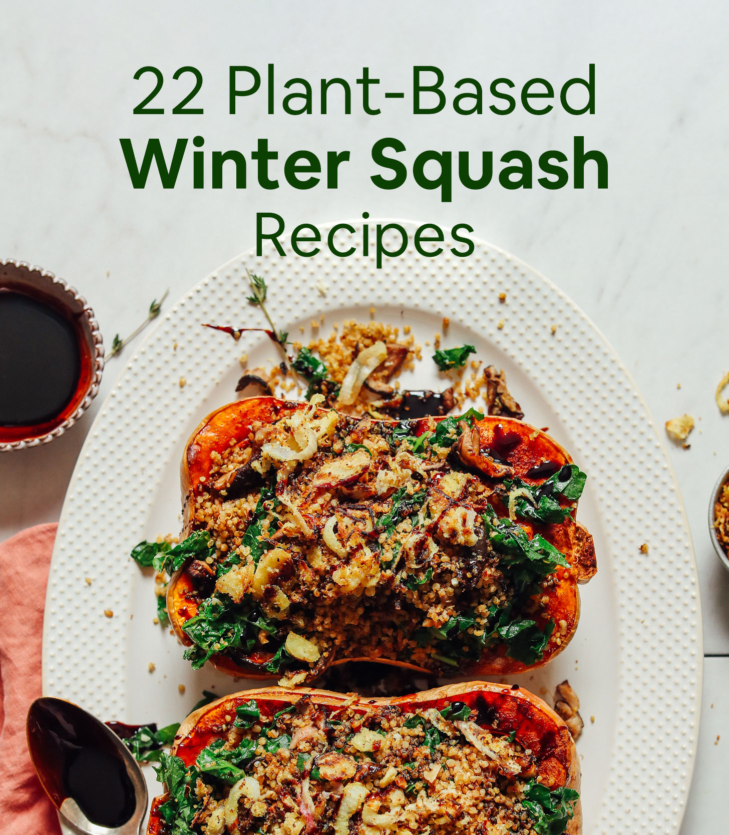 Platter of stuffed butternut squash for our roundup of plant-based winter squash recipes