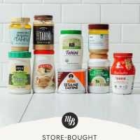 Jars of tahini with text beneath them saying Store Bought Tahini Product Review