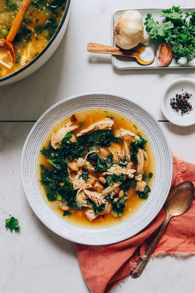 1-Pot Chicken Soup with White Beans & Kale