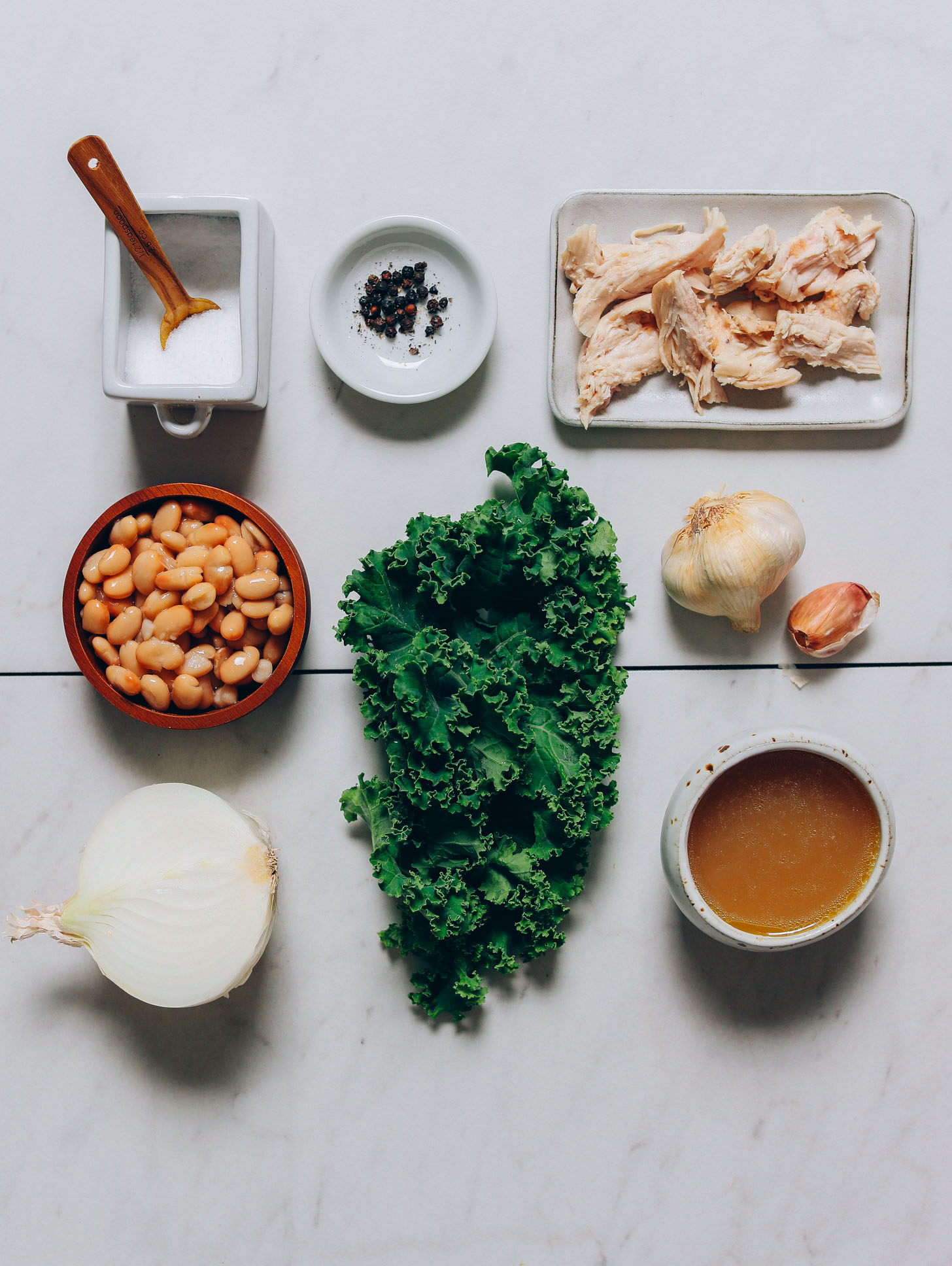 Ingredients for making our Kale White Bean Chicken Soup recipe