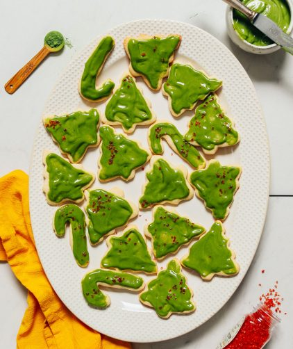 Platter of Grain-Free Sugar Cookies topped with Matcha Buttercream Frosting