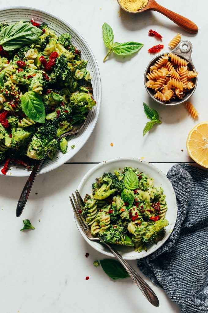 Roasted Broccoli Pasta Salad with Hemp Pesto (V/GF)