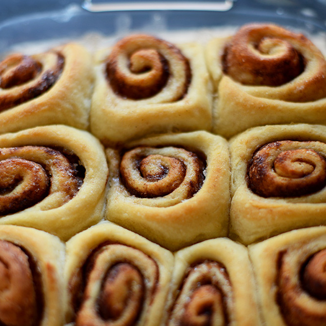 Pan of Easy Cinnamon Rolls without icing