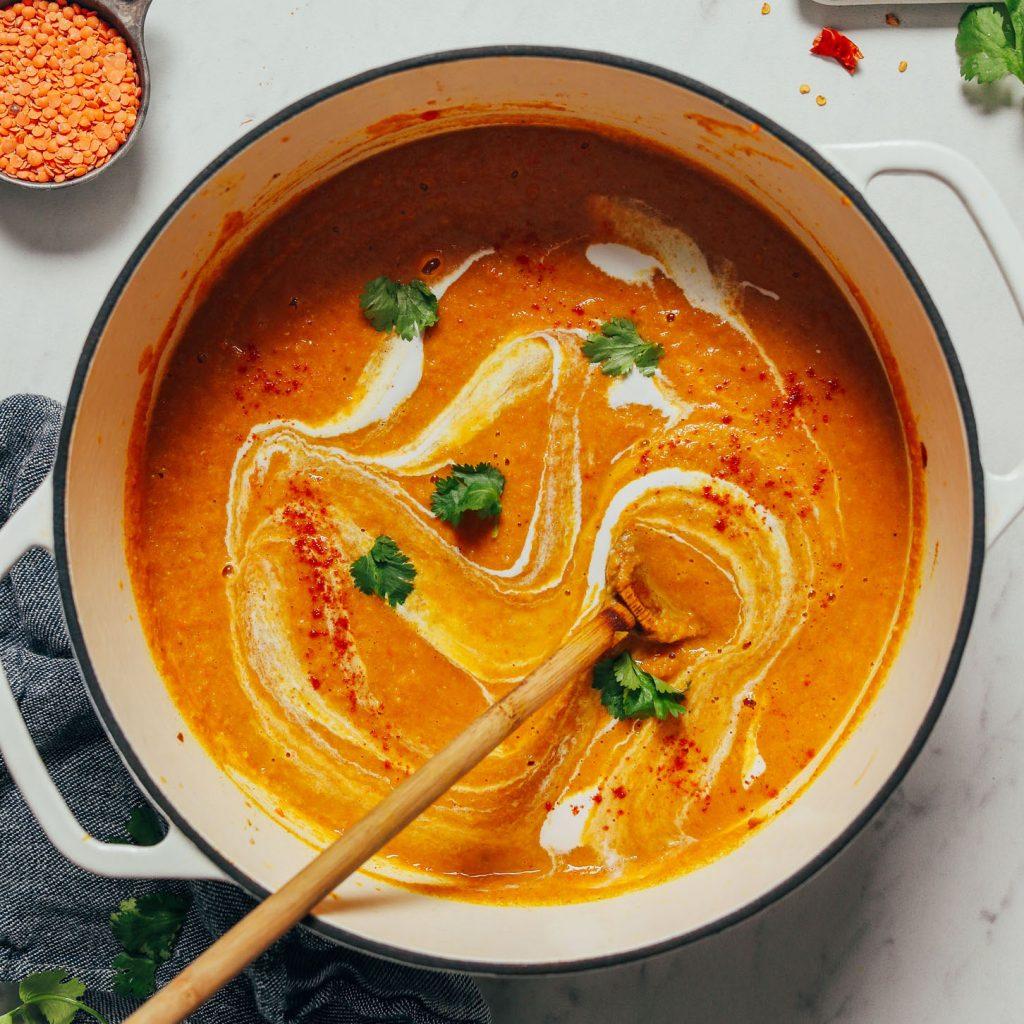 Big pot of vegan Curried Cauliflower Lentil Soup