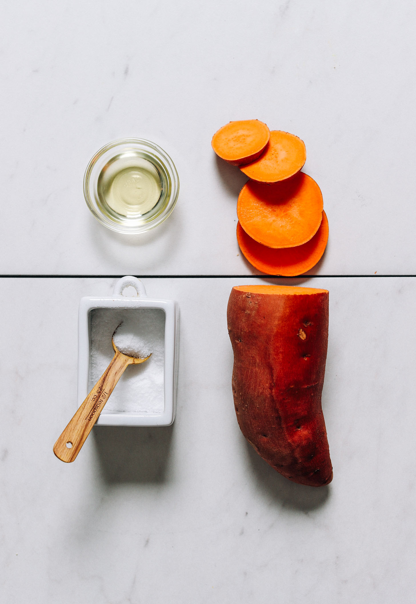 Sliced sweet potato, avocado oil, and salt for making our easy sweet potatoes recipe