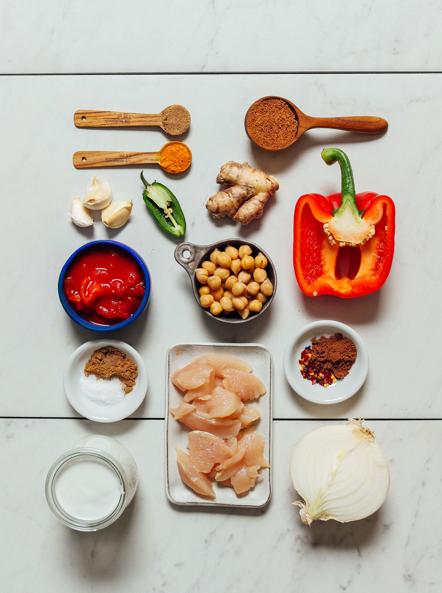Chickpeas, chicken, bell pepper, onion, spices, and other ingredients for making our 1-Pot Tikka Masala recipe