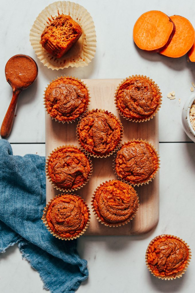 Fluffy Almond Butter Sweet Potato Muffins (GF)