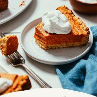 Plate of partially eaten 1-Bowl Vegan Pumpkin Pie