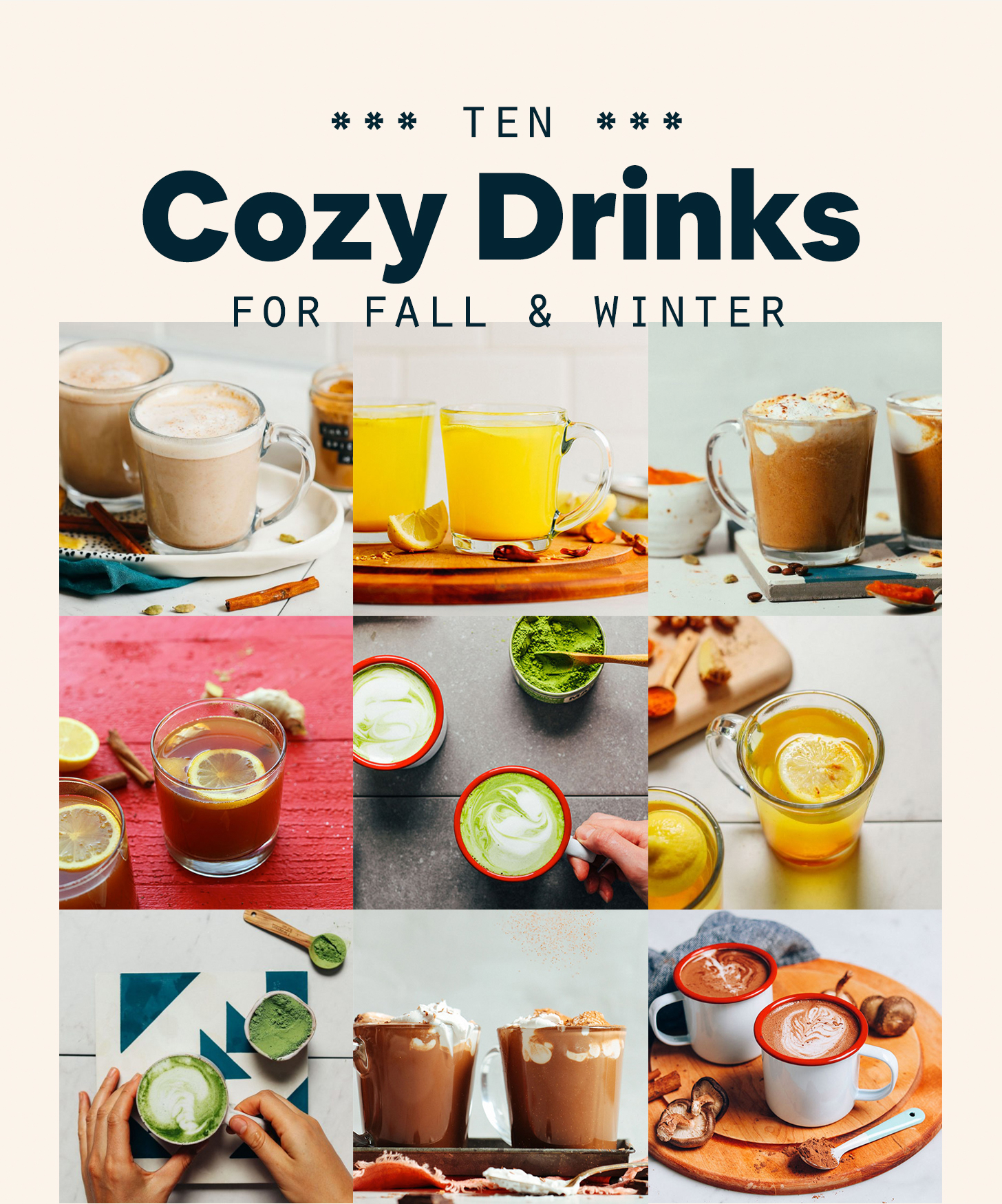 Assortment of recipe photos for our round-up of cozy drinks for fall and winter