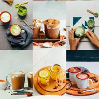 Assortment of recipe photos of cozy drinks for fall and winter