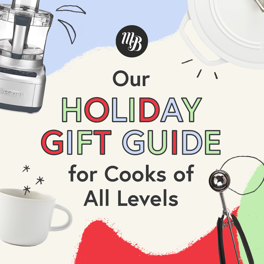 Food processor, mug, cookie scoop, and Dutch oven with text saying Our Holiday Gift Guide for Cooks of All Levels