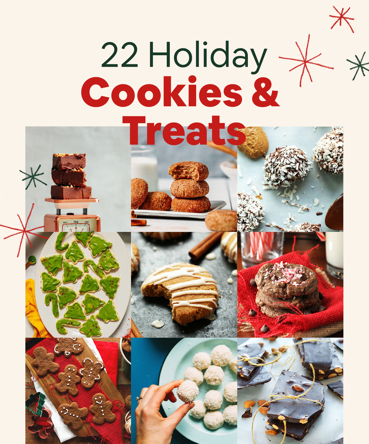 Assortment of recipe photos for our round-up of Holiday Cookies & Treats