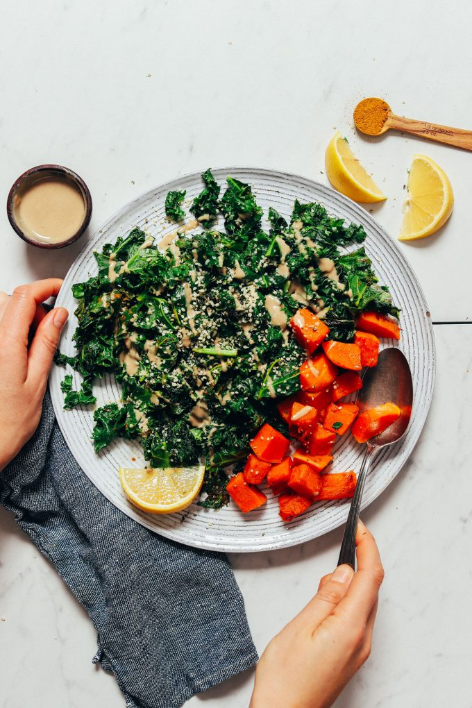 Sautéed Kale with Lemon, Tahini & Hemp Seeds