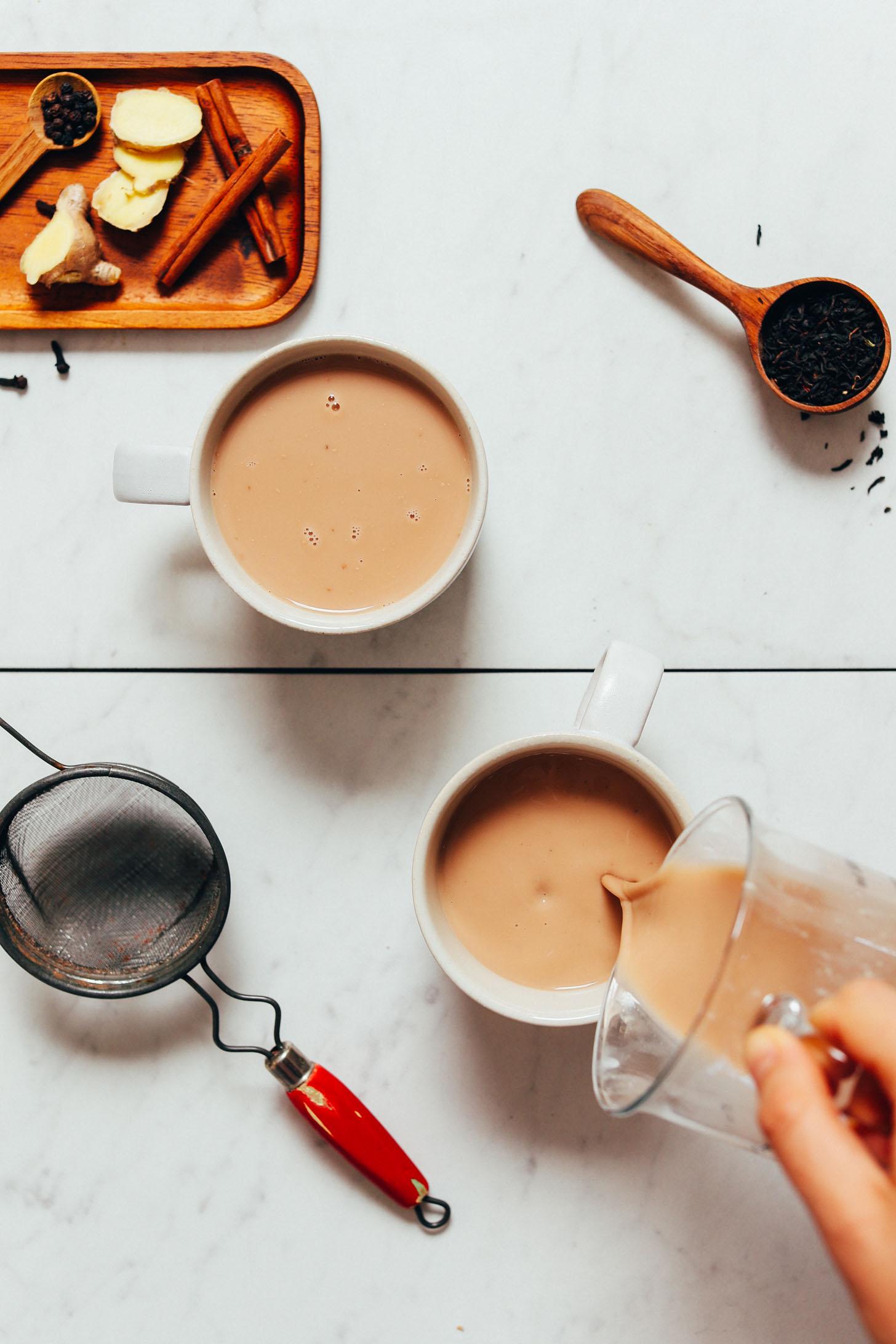 Pouring mugs of dairy-free Masala Chai
