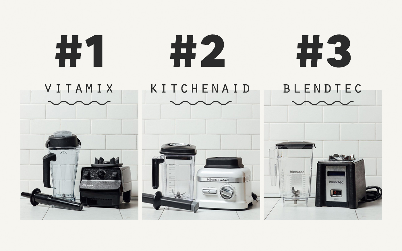 Showing the first, second, and third place winners of our Best Blenders Review