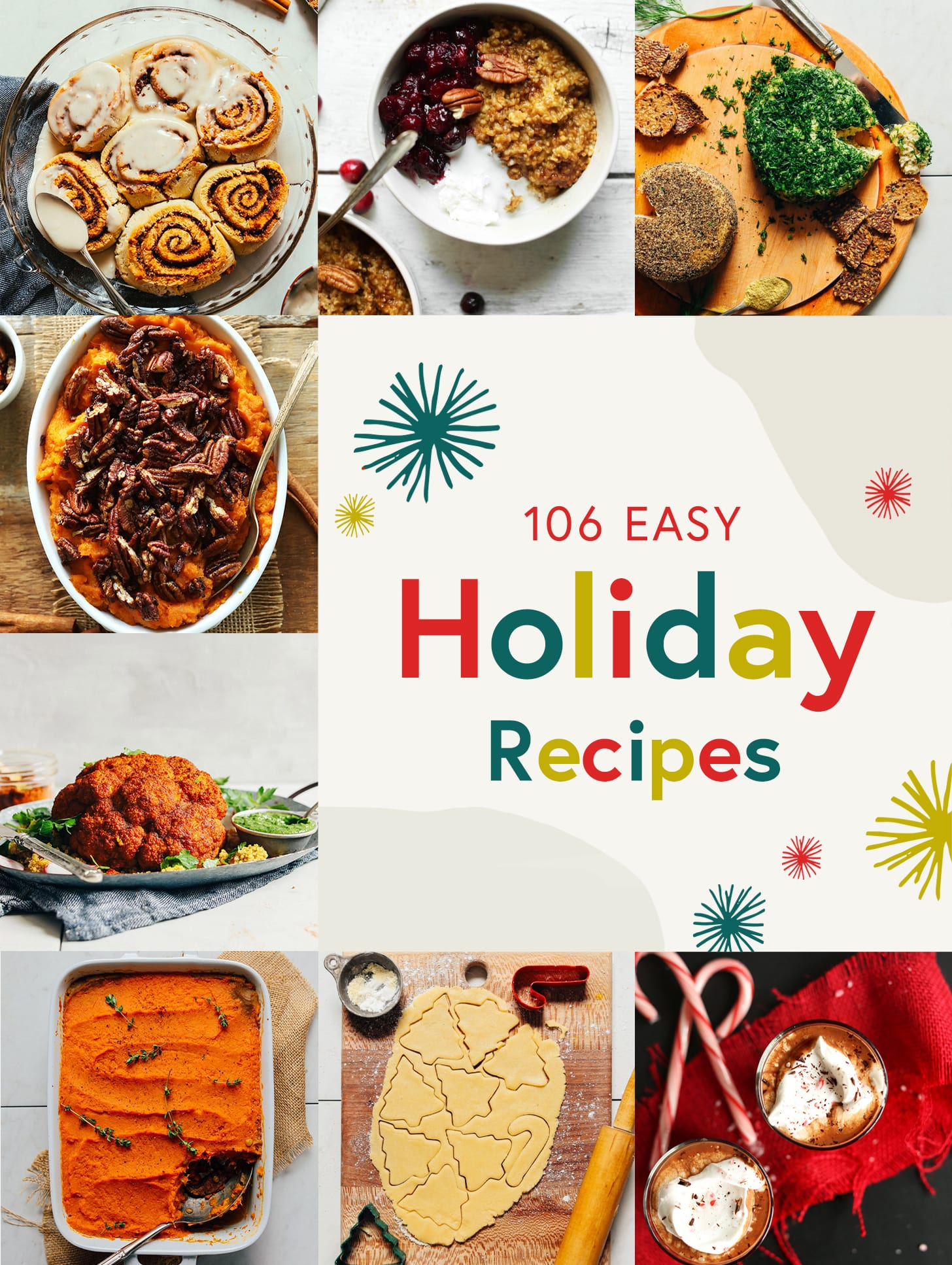 Collection of recipe photos for our round up of 106 Easy Holiday Recipes