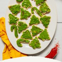 Platter of Grain-Free Christmas Cookies decorated with matcha frosting