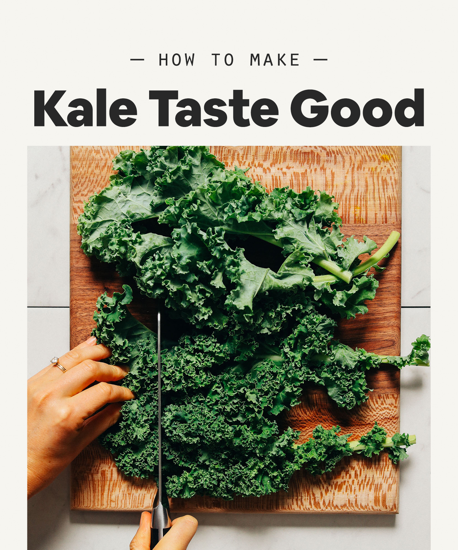Using a knife to chop kale for our tutorial on How to Make Kale Taste Good