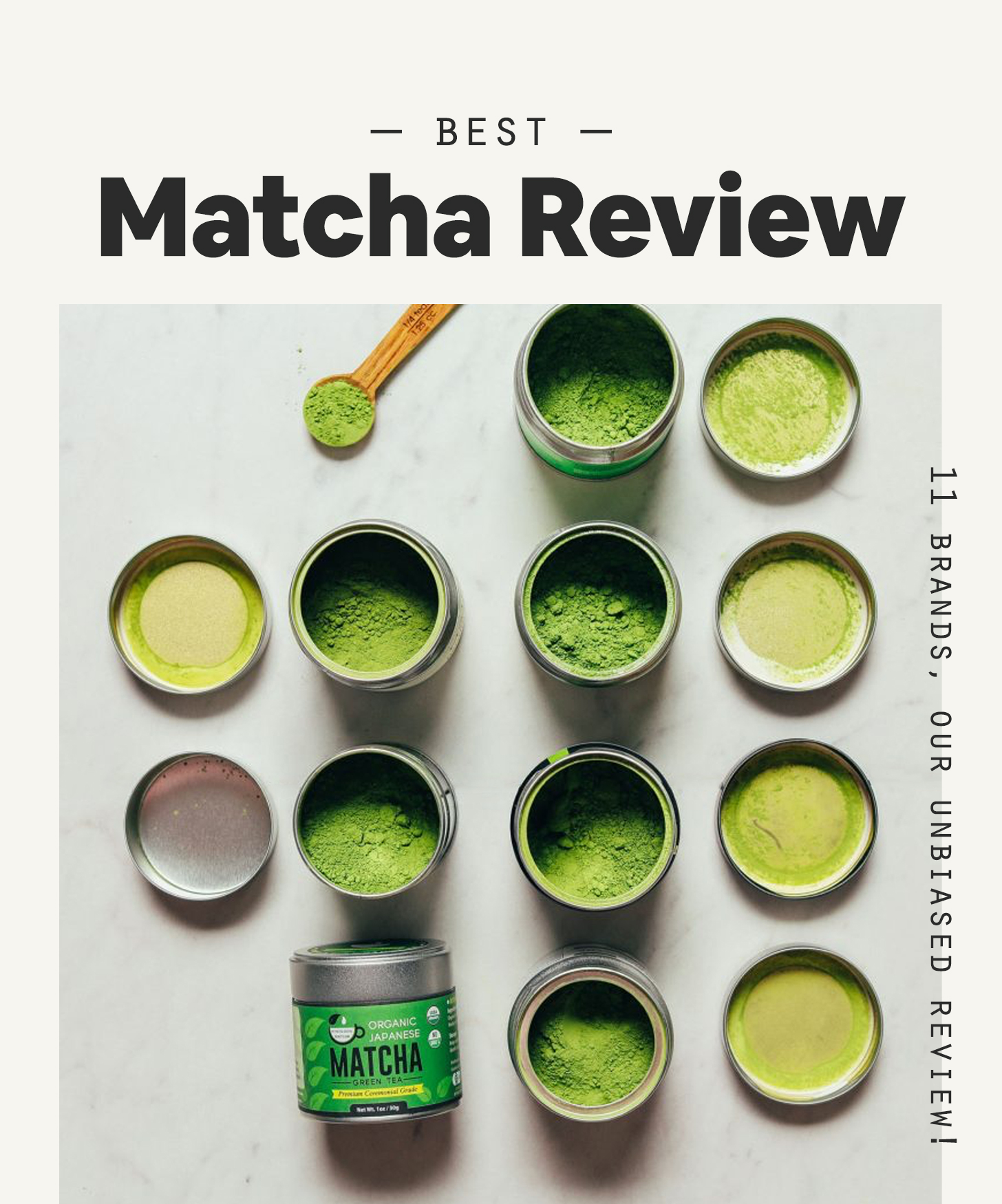 Tins of ceremonial matcha for our review of the top matcha brands on the market