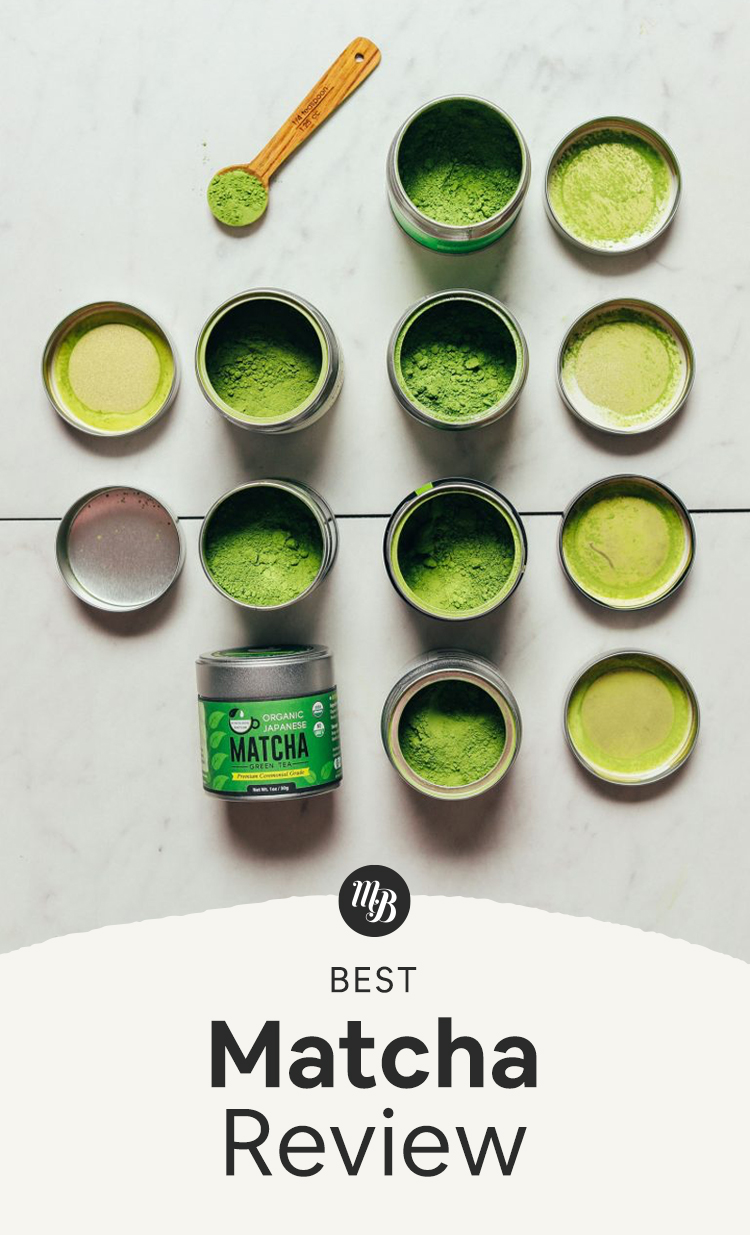 Open tins of culinary and ceremonial grade matcha for our review of the top brands
