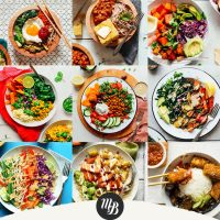 Assortment of recipe photos for our round-up of Nourishing Bowl Meal recipes