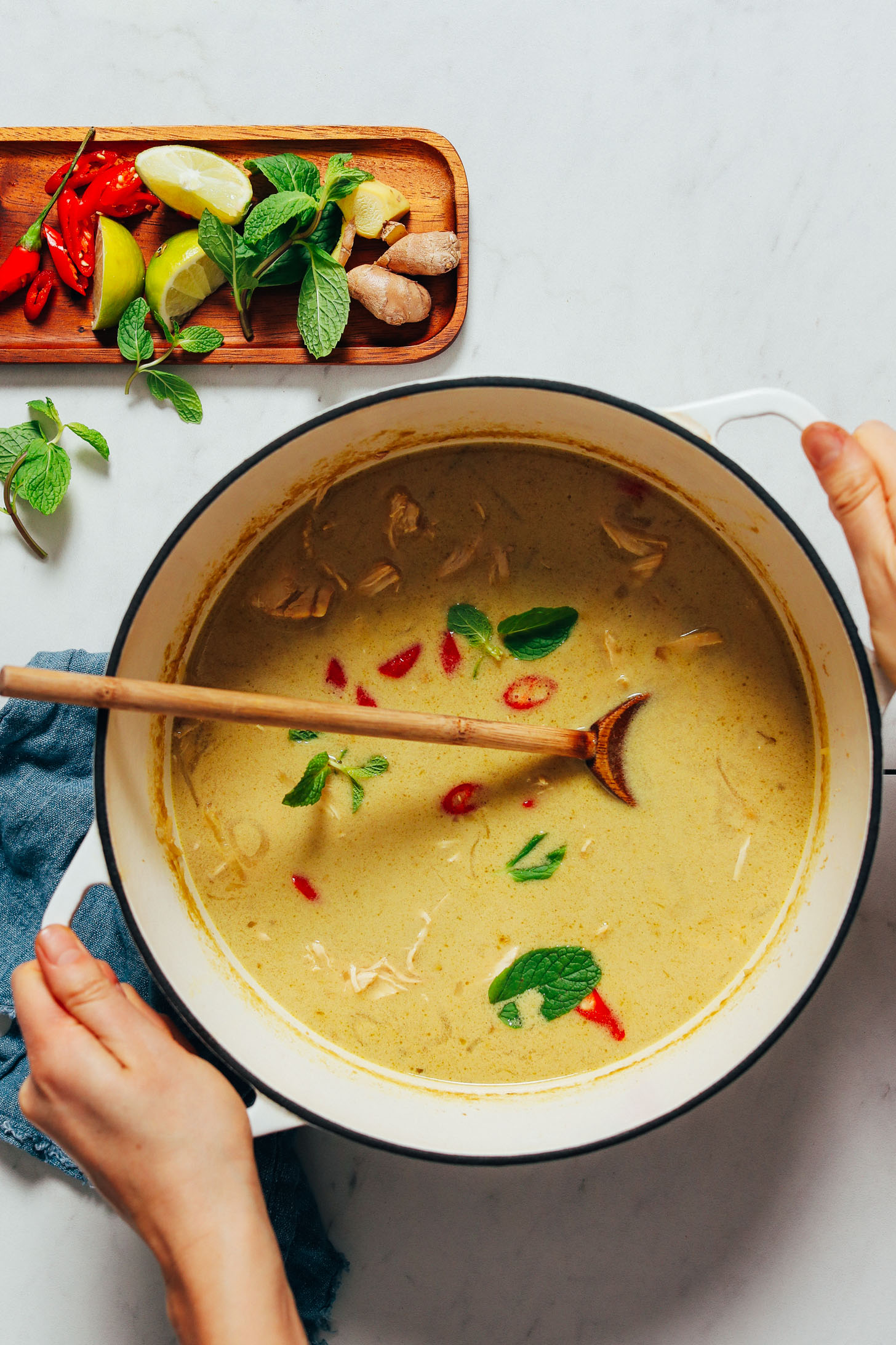 Holding the handles of a pot of Thai-Inspired Chicken Noodle Soup topped with fresh mint