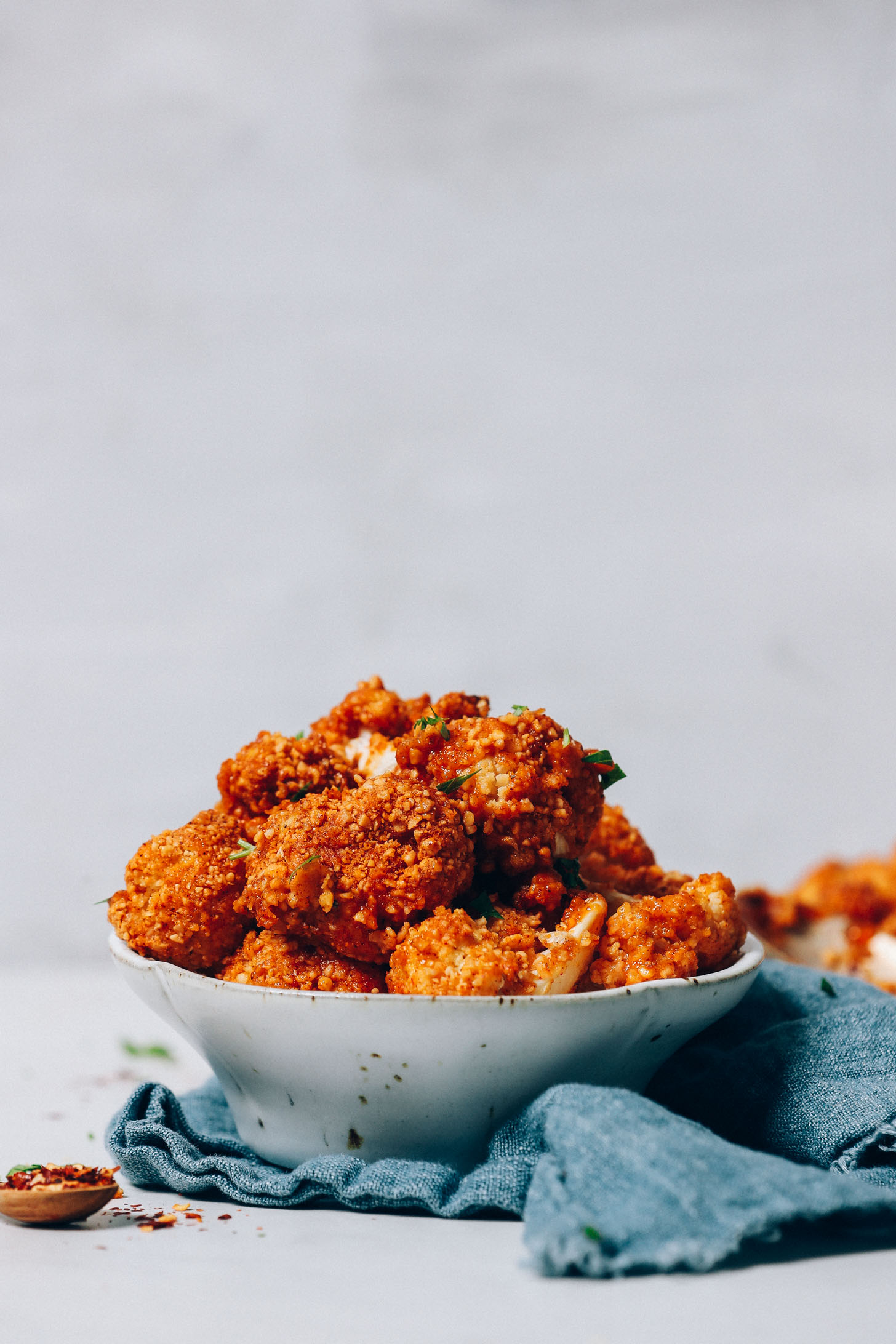 Bowl of our easy Crispy Breaded Cauliflower Wings recipe