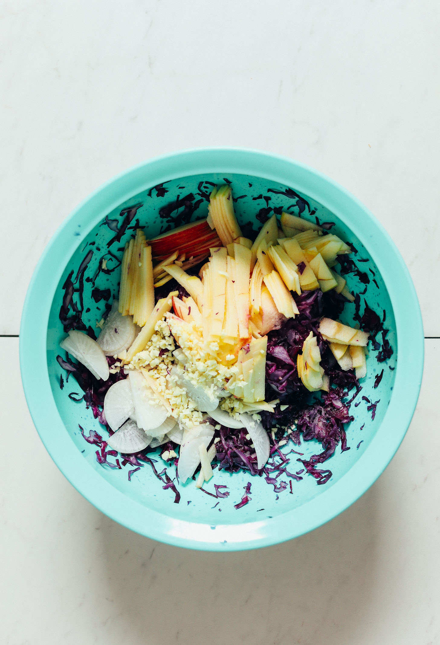 Big bowl of Crunchy Apple Cabbage Sauerkraut