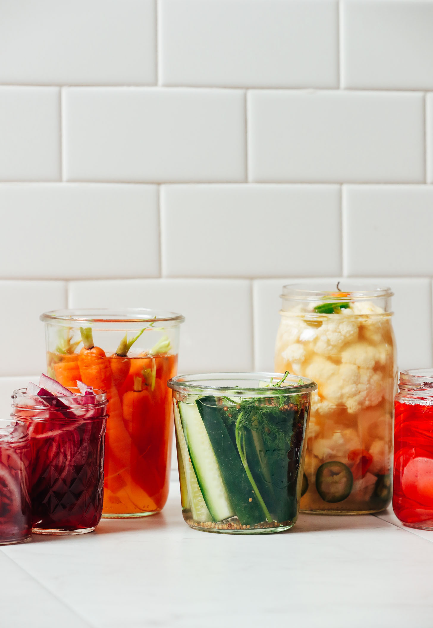 Jars of Quick Pickled Vegetables for our easy tutorial