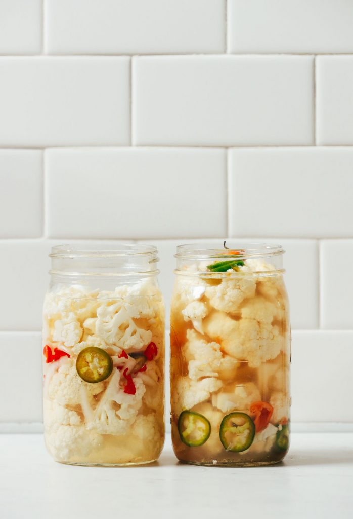 Two jars of our Escabeche Quick Pickled Cauliflower recipe