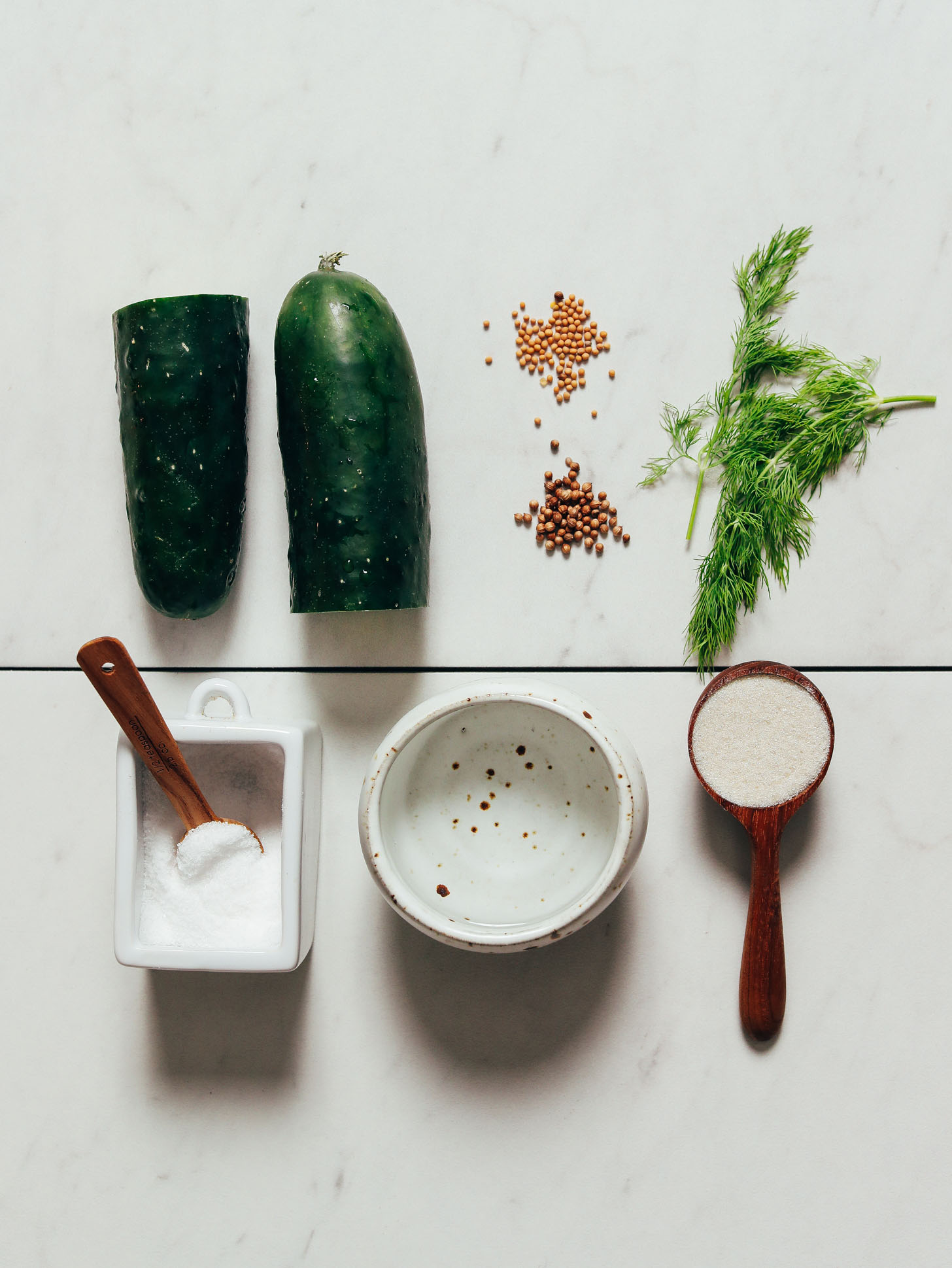 Cucumber, dill, mustard seeds, coriander seeds, and other ingredients for making Refrigerator Pickles