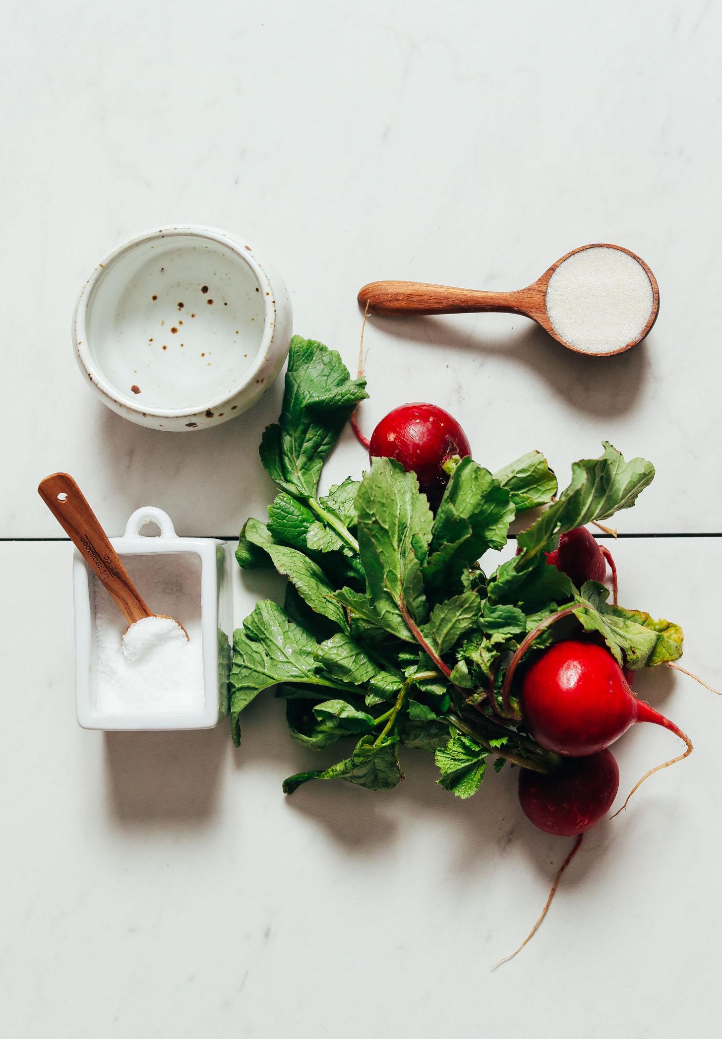 Fresh radish, sugar, salt, and vinegar for making Quick Pickled Radishes