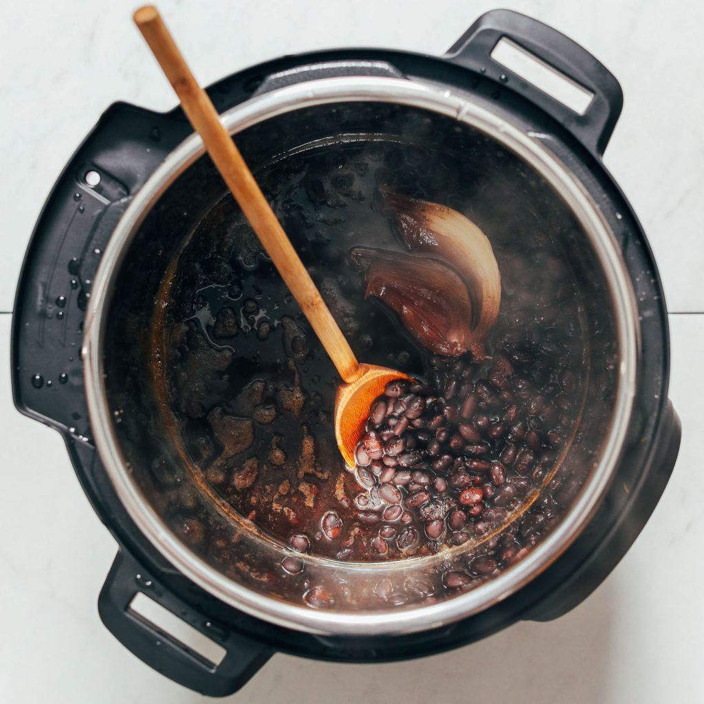 Instant Pot of Homemade Black Beans with onion