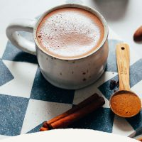 Mug of our Hot Chocolate recipe made with adaptogens