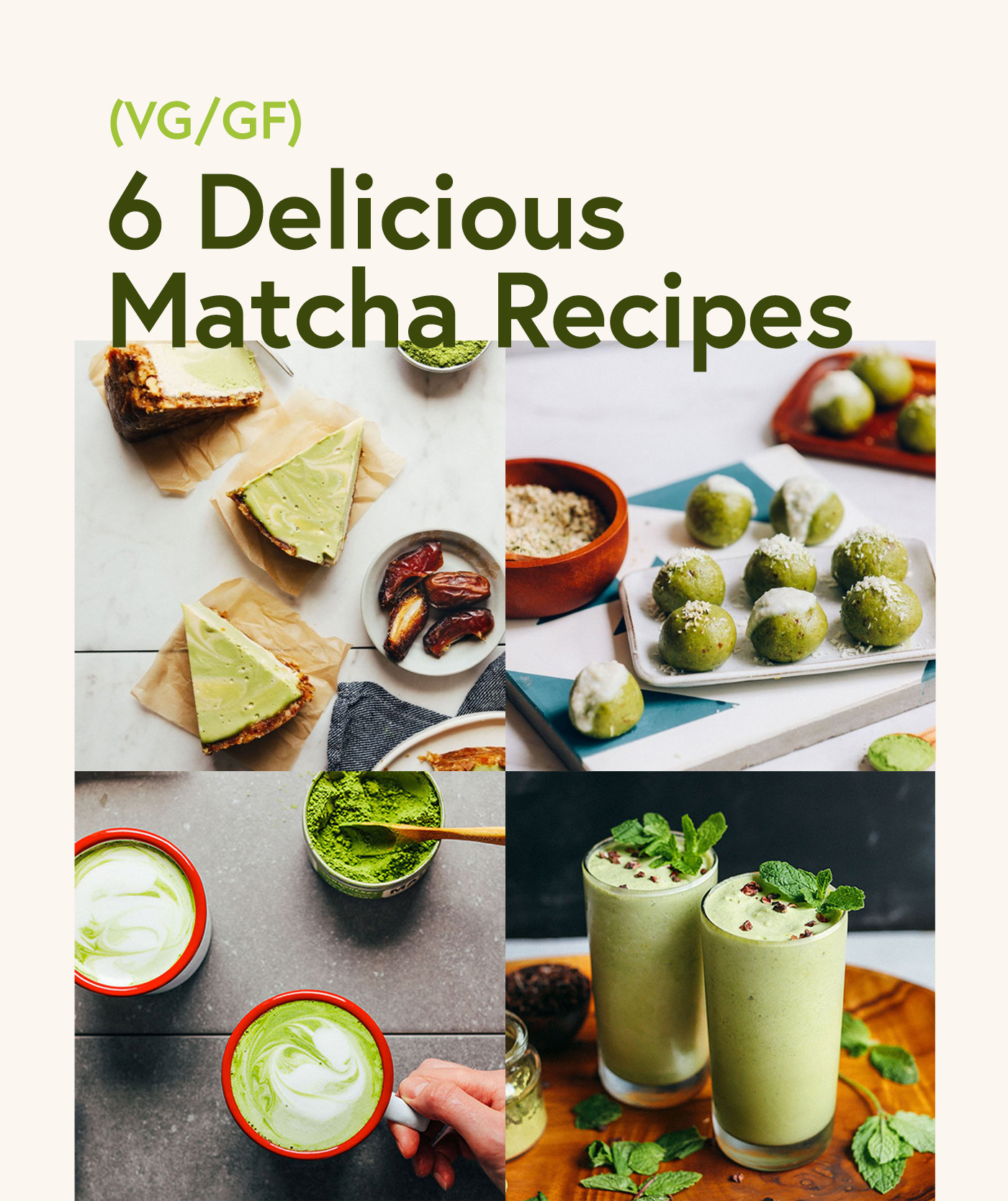 Assortment of recipe photos for our round-up of Matcha Recipes