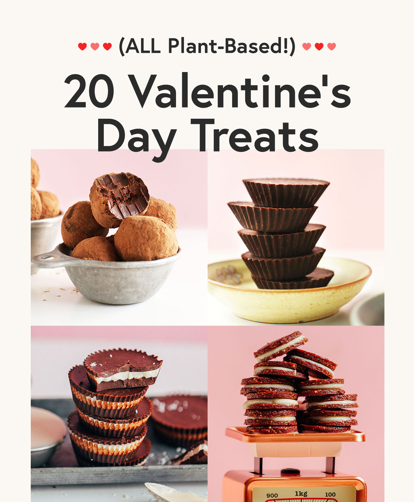 Photos of 4 plant-based chocolate recipes for our round-up of Valentine's Day Treats