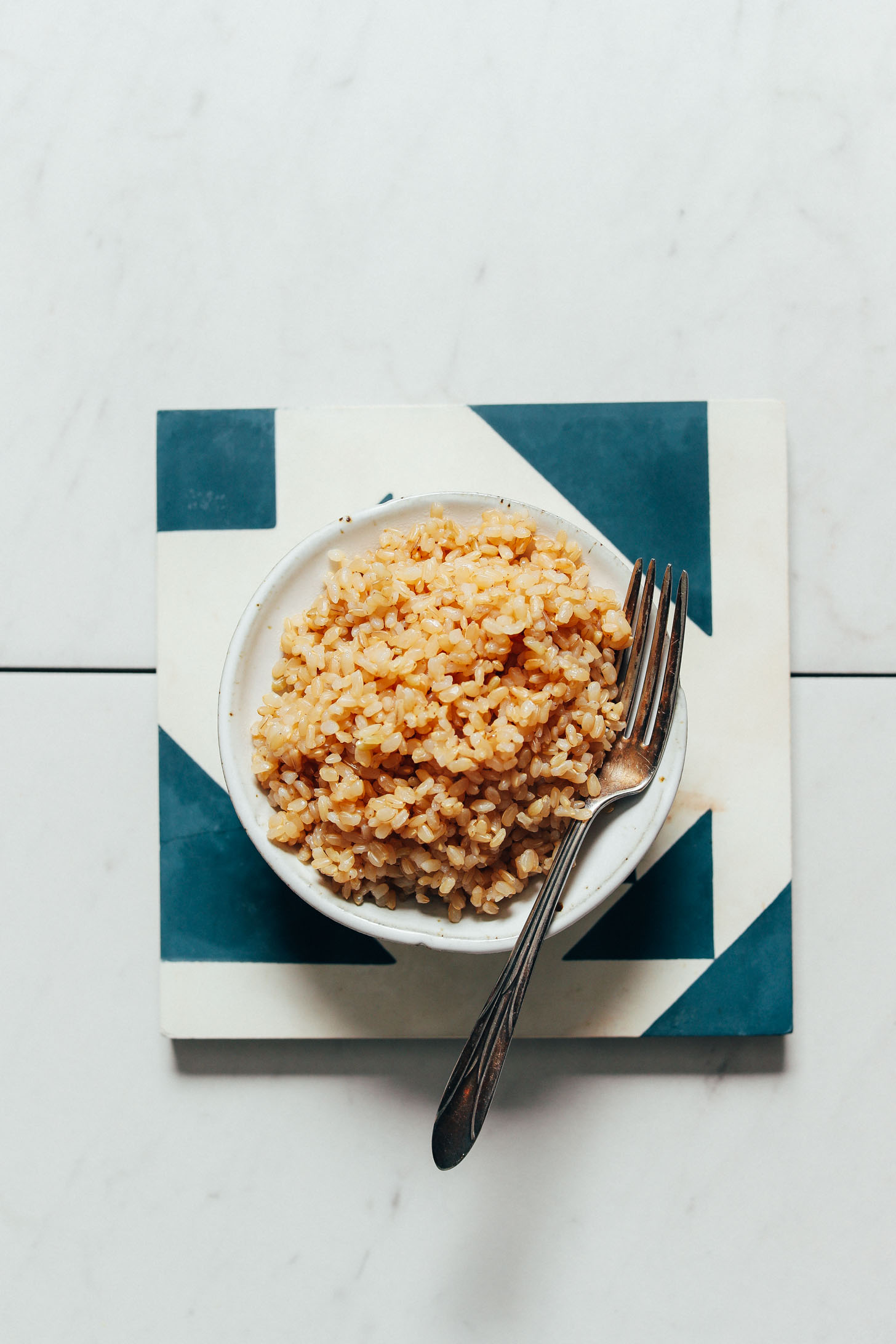 Bowl of perfectly tender brown rice cooked in the Instant Pot