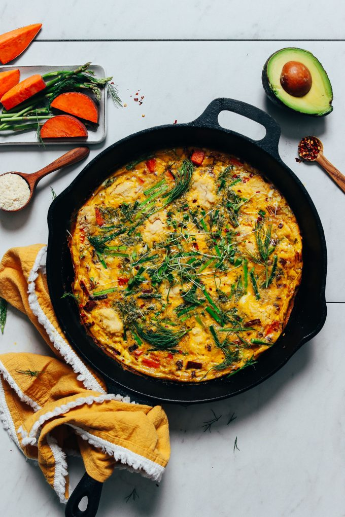 Spring Frittata with Leeks, Asparagus, and Sweet Potato