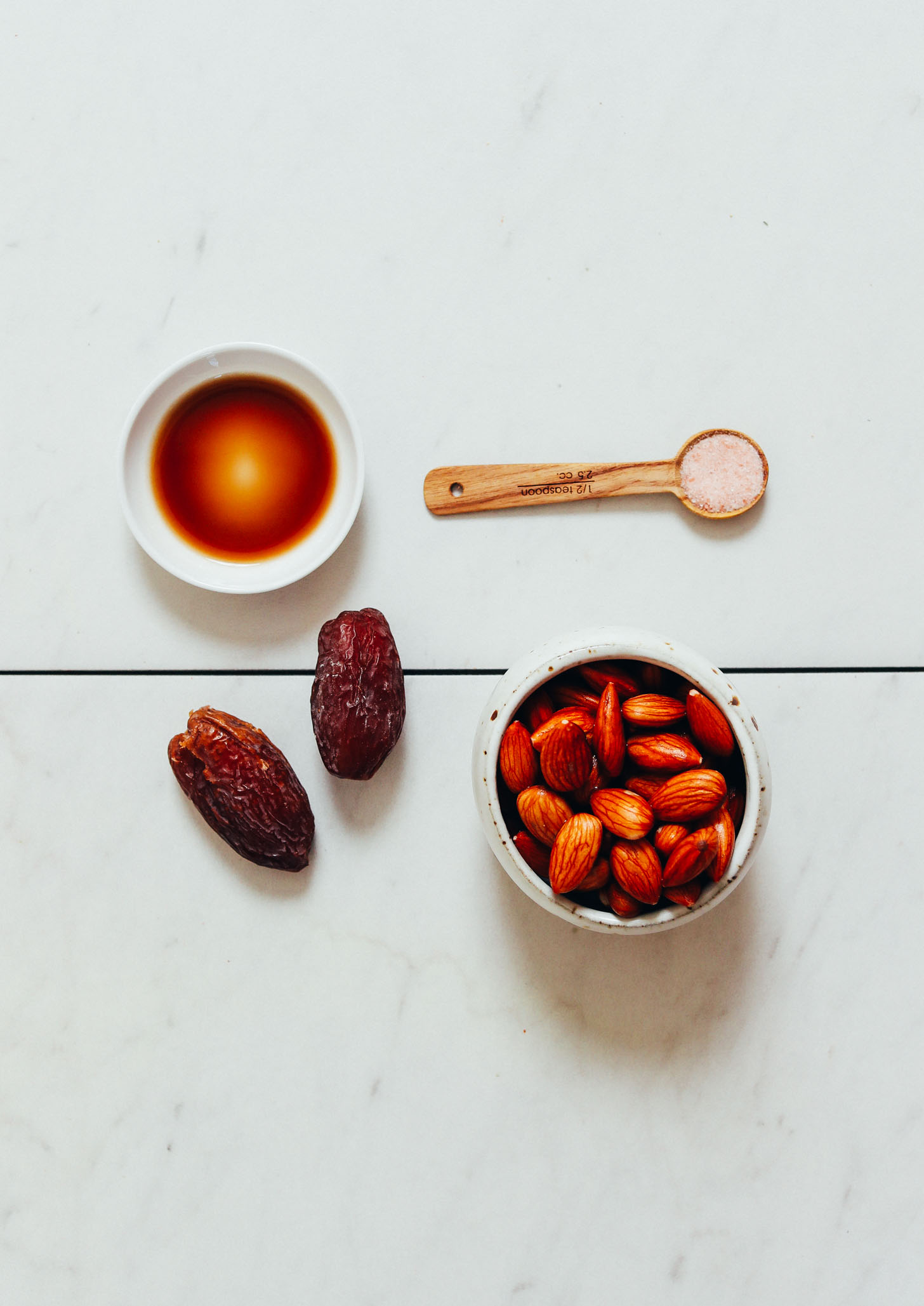 Almonds, dates, vanilla, and salt for making our Dairy-Free Coffee Creamer recipe