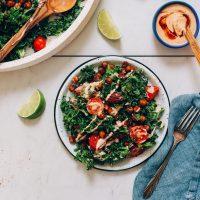 Plate of Chopped Kale Salad with chickpeas and Adobo Dressing