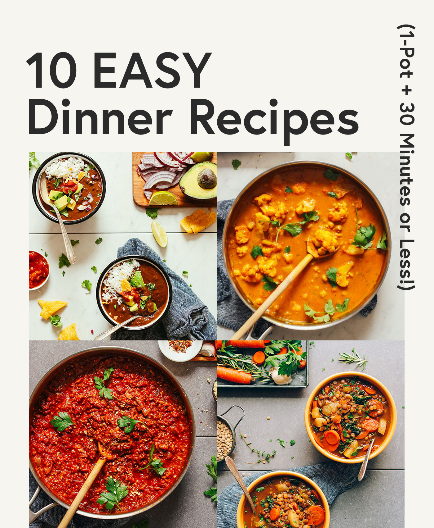 Assortment of recipe photos for our Easy Dinner Recipes round-up