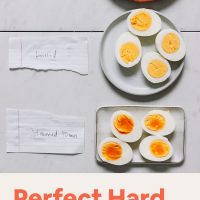 Plates showing Perfect Hard Boiled Eggs made with three methods: steaming, boiling, and Instant Pot