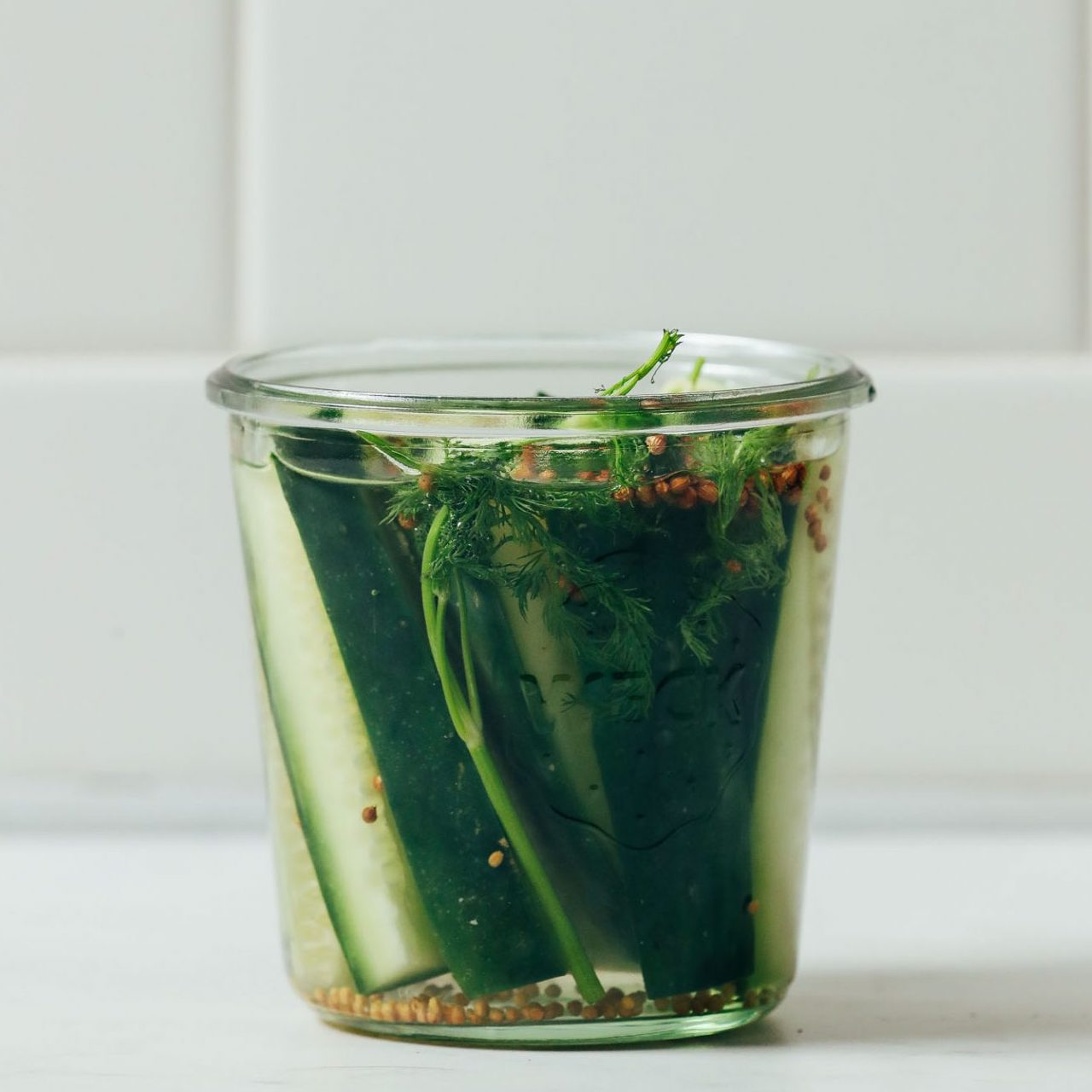 Jar of cucumber spears made into Refrigerator Pickles