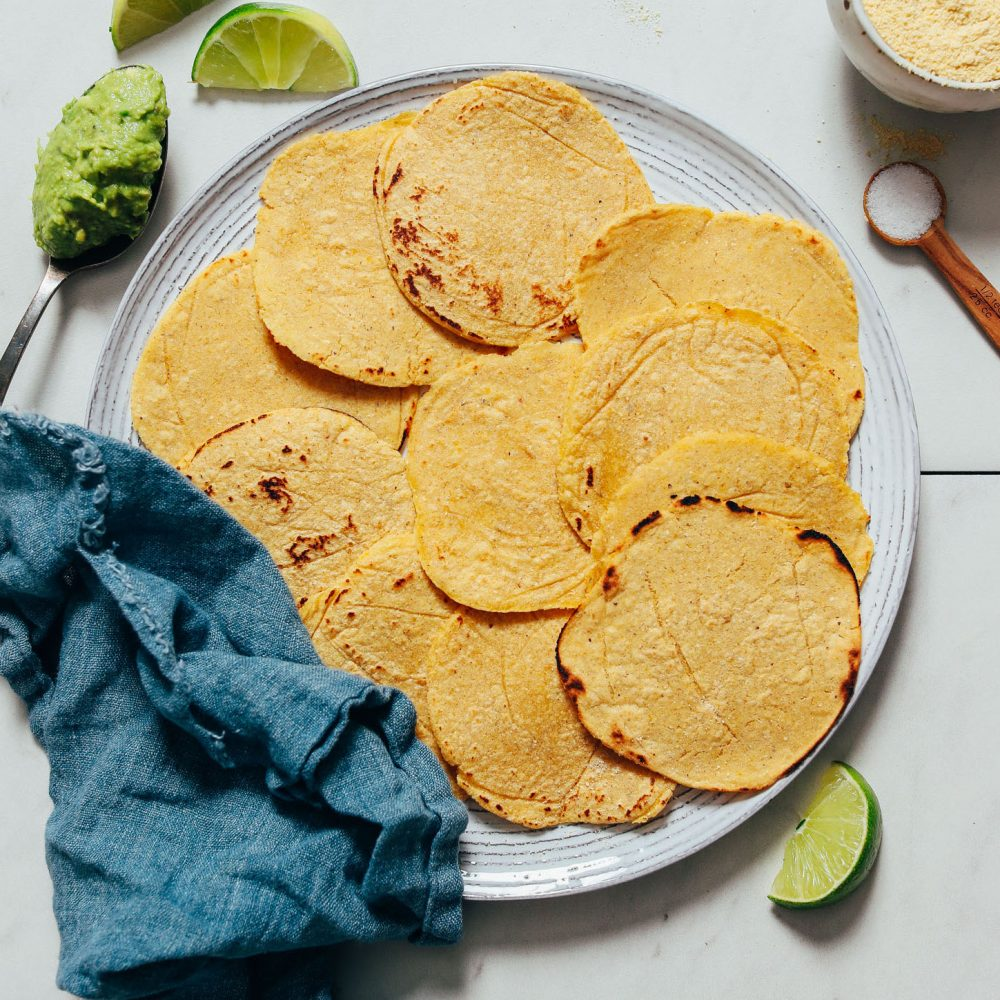 Platter of homemade tortillas for our tutorial on How to Make Corn Tortillas