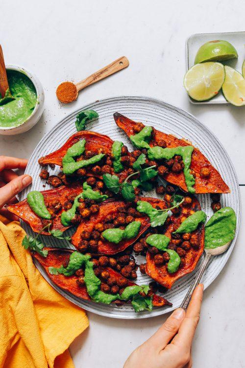 Plate of Stuffed Sweet Potatoes with Green Chutney and Tandoori Masala Chickpeas