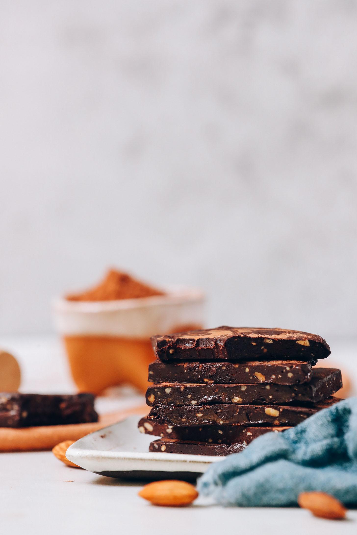 Stack of homemade Honey Mama's Chocolate Bars on a tray