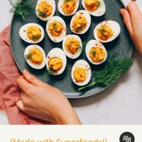 Plate of Mayo-Free Deviled Eggs made with superfoods